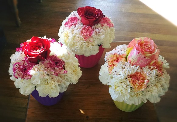 Image result for Roses & Carnations in cupcake bouquet