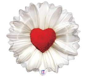 Daisy Heart Mylar Balloon from Twigs Flowers and Gifs in Yerington, NV