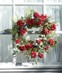 Red Geranium Wreath from Twigs Flowers and Gifs in Yerington, NV