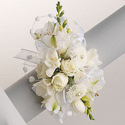 White Wrist Corsage  from Twigs Flowers and Gifs in Yerington, NV