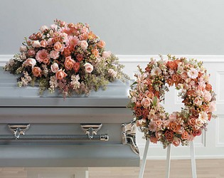 Peach Matching Funeral Setting from Twigs Flowers and Gifs in Yerington, NV